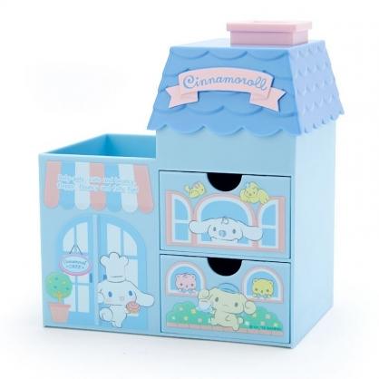 〔小禮堂〕大耳狗 房屋造型拿蓋雙抽筆筒收納盒《藍粉》棉花盒.刷具筒