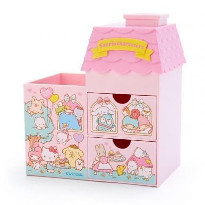 〔小禮堂〕Sanrio大集合 房屋造型拿蓋雙抽筆筒收納盒《粉綠》棉花盒.刷具筒