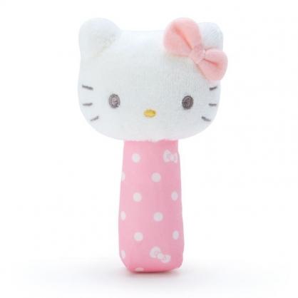 〔小禮堂〕Hello Kitty 大臉造型絨毛手搖鈴玩具《粉白》兒童玩具.絨毛玩偶