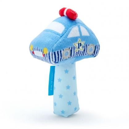 〔小禮堂〕RB工程車 汽車造型絨毛手搖鈴玩具《藍》兒童玩具.絨毛玩偶