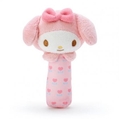 〔小禮堂〕美樂蒂 大臉造型絨毛手搖鈴玩具《粉白》兒童玩具.絨毛玩偶