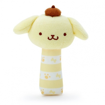 〔小禮堂〕布丁狗 大臉造型絨毛手搖鈴玩具《黃白》兒童玩具.絨毛玩偶