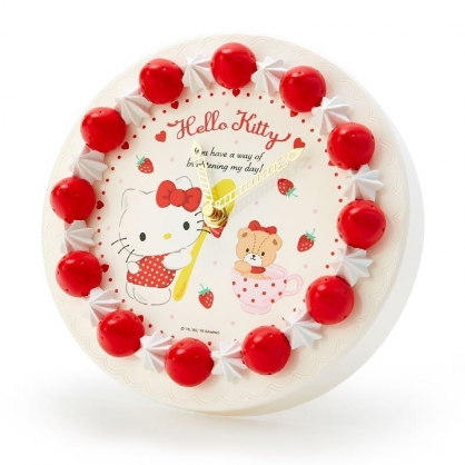 〔小禮堂〕Hello Kitty 草莓蛋糕造型圓形壁掛鐘《紅白》時鐘.桌鐘.造型鐘