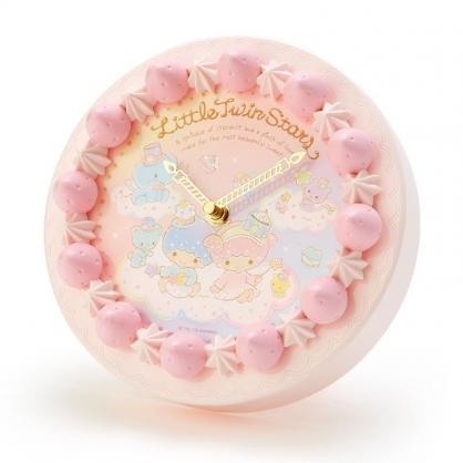 〔小禮堂〕雙子星 草莓蛋糕造型圓形壁掛鐘《粉白》時鐘.桌鐘.造型鐘