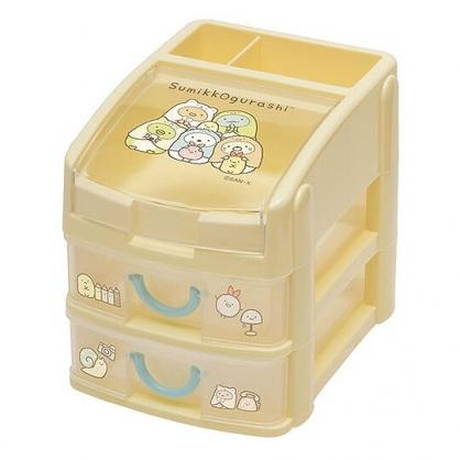 〔小禮堂〕角落生物 頂層掀蓋塑膠雙層抽屜盒《米黃.變裝》收納盒.置物盒