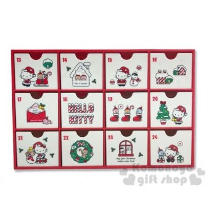 〔小禮堂〕Hello Kitty 桌上型塑膠多格抽屜收納盒《紅白》抽屜盒.飾品盒.2019聖誕系列