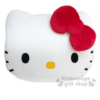 〔小禮堂〕Hello Kitty 大臉造型絨毛抱枕靠墊《藍白》午睡枕.靠枕