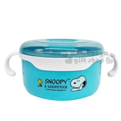 〔小禮堂〕史努比 透明蓋不鏽鋼雙耳隔熱碗《藍.撐頭》620ml.便當盒.保鮮盒