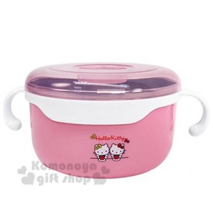 〔小禮堂〕Hello Kitty 透明蓋不鏽鋼雙耳隔熱碗《粉.吃蘋果》620ml.便當盒.保鮮盒
