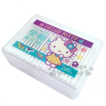 〔小禮堂〕Hello Kitty 盒裝雙頭棉花棒《紫綠.黃洋裝》200支入.棉棒