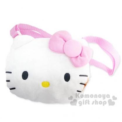 〔小禮堂〕Hello Kitty 兒童大臉造型絨毛拉鍊斜背包《粉白》側背包.隨身包.2019聖誕系列