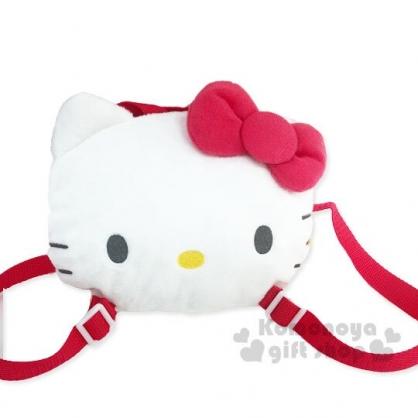 〔小禮堂〕Hello Kitty 兒童大臉造型絨毛拉鍊後背包《紅白》兒童背包.2019聖誕系列