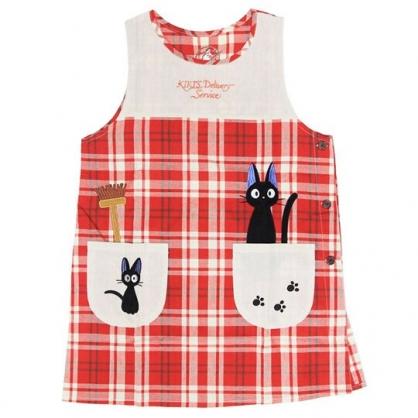 〔小禮堂〕宮崎駿 魔女宅急便 背心式扣式棉質圍裙《米紅.格紋》圍兜.工作服