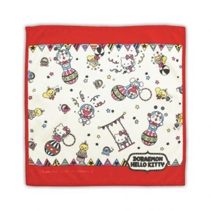 〔小禮堂〕Hello Kitty x 哆啦A夢 純棉割絨小方巾《藍紅.馬戲團》25x25cm.毛巾.手帕