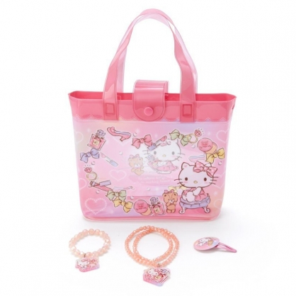 〔小禮堂〕Hello Kitty 兒童串珠飾品組附手提包《粉白》手環.首飾.髮夾