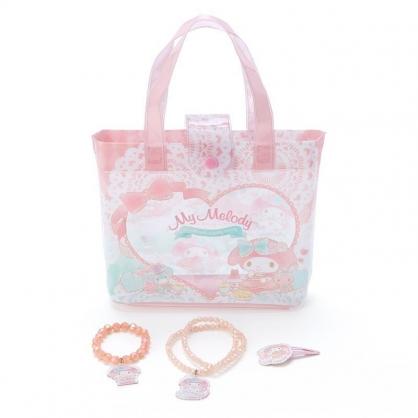 〔小禮堂〕美樂蒂 兒童串珠飾品組附手提包《粉綠》手環.首飾.髮夾