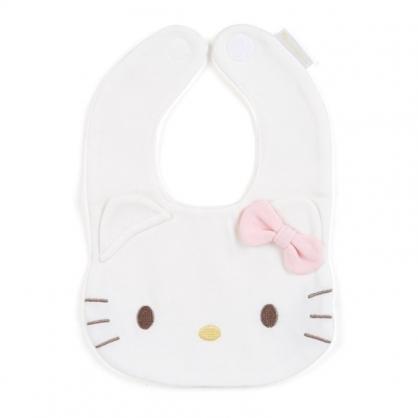 〔小禮堂〕Hello Kitty 大臉造型嬰兒魔鬼氈棉質圍兜《粉白》口水圍兜.口水巾