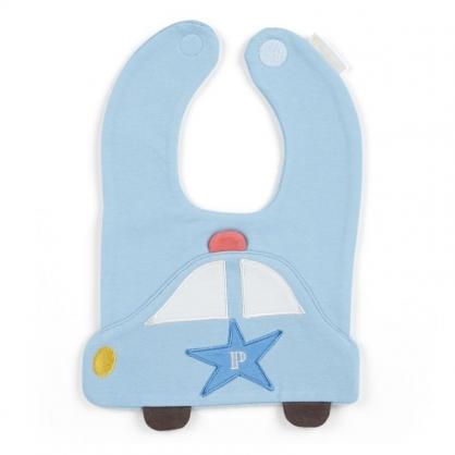 〔小禮堂〕RB工程車 大臉造型嬰兒魔鬼氈棉質圍兜《藍白》口水圍兜.口水巾