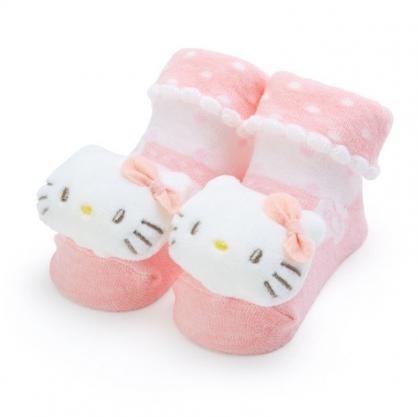 〔小禮堂〕Hello Kitty 日製立體大臉造型棉質嬰兒襪《粉白》腳長11公分.童襪