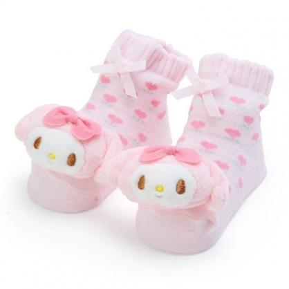 〔小禮堂〕美樂蒂 日製立體大臉造型棉質嬰兒襪《粉綠》腳長11公分.童襪