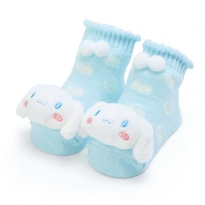 〔小禮堂〕大耳狗 日製立體大臉造型棉質嬰兒襪《藍白》腳長11公分.童襪