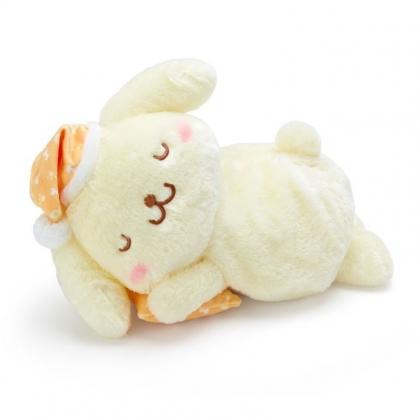 〔小禮堂〕布丁狗 可加熱絨毛玩偶娃娃抱枕《黃橘》熱敷袋.暖暖靠枕
