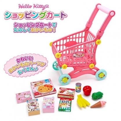 〔小禮堂〕Hello Kitty 超市手推購物車玩具組《粉藍盒裝》推車.菜籃車.兒童玩具