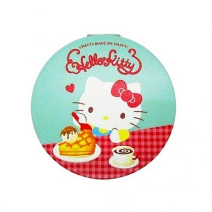 〔小禮堂〕Hello Kitty 圓形塑膠隨身雙面鏡《紅綠.鬆餅》放大鏡.折鏡
