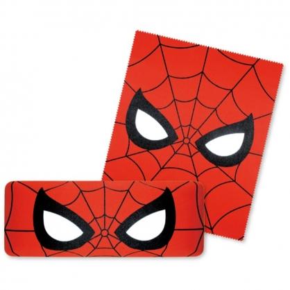 〔小禮堂〕漫威英雄Marvel 蜘蛛人 尼龍硬殼眼鏡盒《紅.大臉》附眼鏡布.收納盒