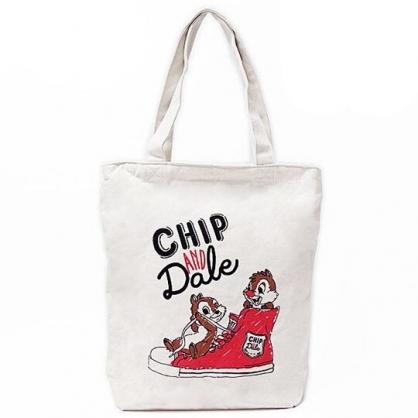 〔小禮堂〕迪士尼 奇奇蒂蒂 直式拉鍊帆布側背袋《米紅.帆布鞋》購物袋.肩背袋