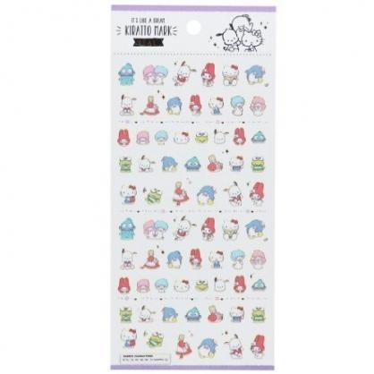 〔小禮堂〕Sanrio大集合 造型燙金貼紙組《紫.角色》手帳貼紙.裝飾貼.黏貼用品
