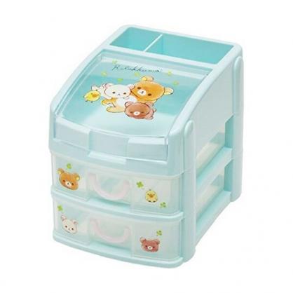 〔小禮堂〕懶懶熊 拉拉熊 頂層掀蓋塑膠雙層抽屜盒《淡綠.幸運草》收納盒.置物盒