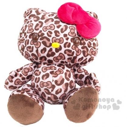 〔小禮堂〕Hello Kitty 豹紋絨毛玩偶娃娃《S.棕》擺飾.玩具
