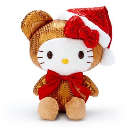 〔小禮堂〕Hello Kitty 亮片絨毛玩偶娃娃《M.棕》聖誕娃娃.擺飾.2019聖誕系列
