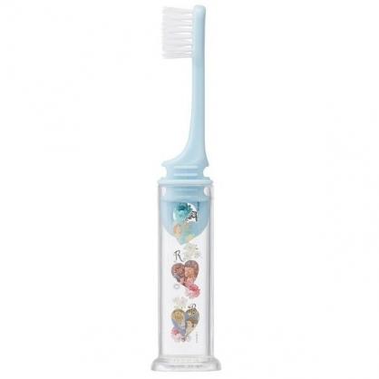 〔小禮堂〕迪士尼 公主 攜帶式折疊牙刷《藍.愛心框》口腔清潔.盥洗小物