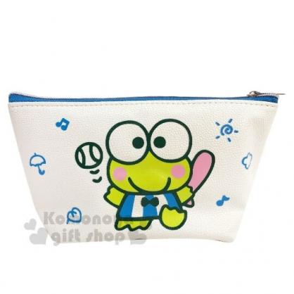〔小禮堂〕大眼蛙 皮質船形拉鍊筆袋《綠白.招手》化妝包.收納包.鉛筆盒