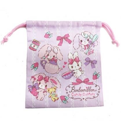 〔小禮堂〕蹦蹦兔 日製棉質束口袋《紫.草莓》19x21cm.收納袋.縮口袋