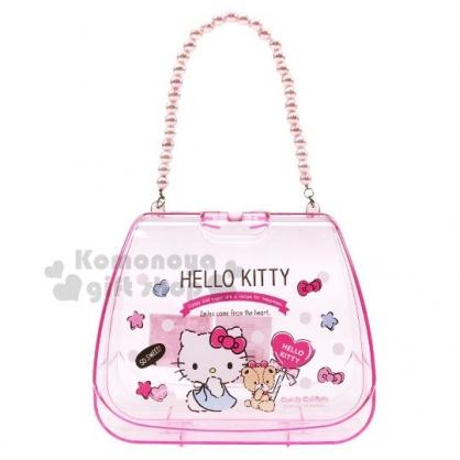 〔小禮堂〕Hello Kitty 珍珠鍊條透明手提收納盒《粉》手提空盒.2019聖誕系列