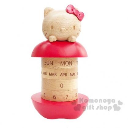 〔小禮堂〕Hello Kitty 造型木質旋轉萬年曆《棕紅》桌曆.月曆.日曆