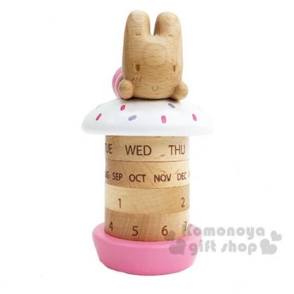 〔小禮堂〕兔媽媽 造型木質旋轉萬年曆《棕粉》桌曆.月曆.日曆