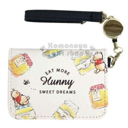〔小禮堂〕迪士尼 小熊維尼 皮質扣式易拉扣伸縮票卡夾《黃.蜂蜜罐》車票夾.證件夾