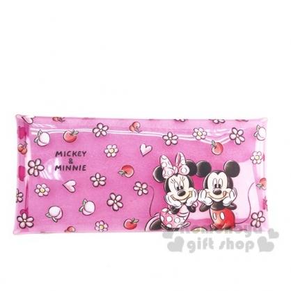 〔小禮堂〕迪士尼 米奇米妮 防水透明扁平扣式筆袋《粉.花朵》收納包.鉛筆盒