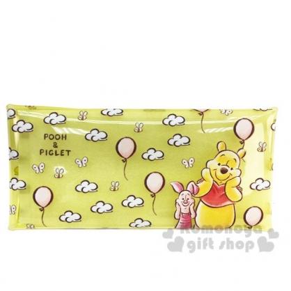 〔小禮堂〕迪士尼 小熊維尼 防水透明扁平扣式筆袋《黃.雲朵》收納包.鉛筆盒