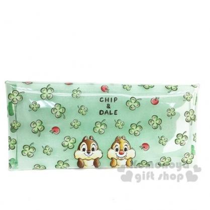 〔小禮堂〕迪士尼 奇奇蒂蒂 防水透明扁平扣式筆袋《綠.幸運草》收納包.鉛筆盒