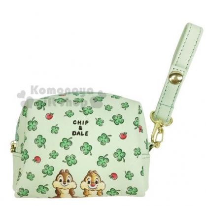 〔小禮堂〕迪士尼 奇奇蒂蒂 迷你方形皮質化妝包《綠.幸運草》腕繩收納包.零錢包