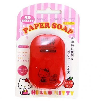 〔小禮堂〕Hello Kitty 攜帶型盒裝紙肥皂《50入.紅》皂紙.紙香皂