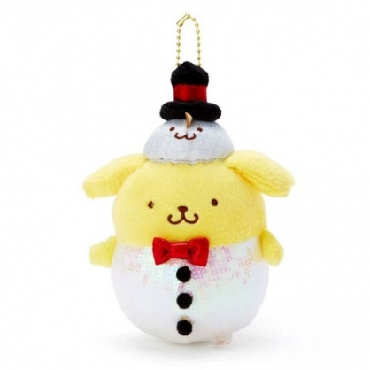 〔小禮堂〕布丁狗 亮片絨毛玩偶娃娃吊飾《黃白》掛飾.鑰匙圈.2019聖誕系列