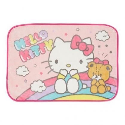 〔小禮堂〕Hello Kitty 圓角毛毯披肩《粉綠.彩虹》70x100cm.薄毯.單人毯