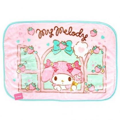 〔小禮堂〕美樂蒂 圓角毛毯披肩《粉綠.草莓窗戶》70x100cm.薄毯.單人毯