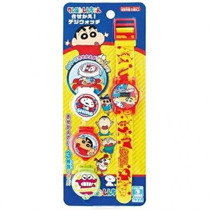 〔小禮堂〕蠟筆小新 可換蓋矽膠錶帶兒童手錶《黃紅.角色》休閒錶.腕錶.電子錶
